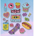 Cartoon stickers or patches set with 90s style