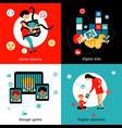 children internet addiction 4 flat icons vector image