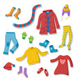 clooection of flat style winter clothing items vector image vector image