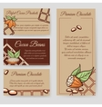 Cocoa beans and chocolate cards set vector image vector image