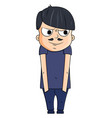 Cute cartoon young man with smug emotions