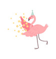 cute flamingo wearing party hat with stars vector image vector image