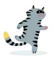 cute funny running cat cartoon feline character vector image
