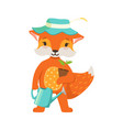 cute orange fox gardener character funny cartoon vector image vector image