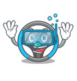 diving steering wheel in the character shape vector image vector image