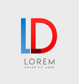dl logo letters with blue and red gradation vector image vector image