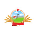 farm landscape with wheat spikes circle round logo vector image