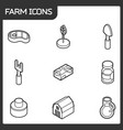 farm outline isometric icons vector image vector image