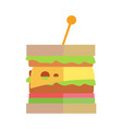 fast food cheeseburger in flat design vector image vector image