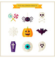 Flat Halloween Trick or Treat Objects Set vector image
