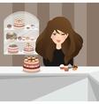 Girls smile in bakery store front cakes dessert
