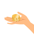 hands holding gold coins vector image vector image