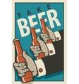 Hands with bottles of beer