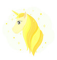 head of a golden unicorn gold horse hair vector image vector image