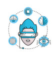 human cyberspace connect with 3d glasses vector image