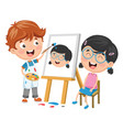 kid painting his friend on canvas vector image