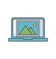 laptop picture album social media icon vector image