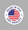made in usa 100 percent american quality seal vector image vector image