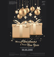 merry christmas happy new year template vector image