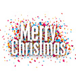 Merry christmas paper sign over confetti vector image