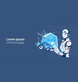 modern robot hold loading graphic diagram vector image vector image