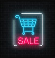 neon glowing sale sign with shopping cart on a vector image vector image