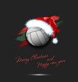 new year and volleyball ball in santa hat vector image
