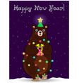 new year bear in fir tree hat wind round with vector image vector image