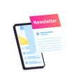 newsletter subcription online in mobile app vector image vector image