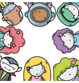 people together to kawaii avatar icon vector image