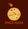 pizza logo planet in space vector image
