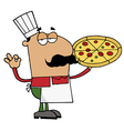 Pleased Hispanic Pizza Chef vector image vector image