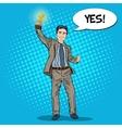 Pop Art Businessman with Golden Winners Cup vector image vector image