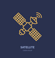satellite flat line icon wireless technology vector image