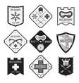 set of ski logos ski patrol rental in flat style vector image vector image