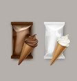 set of white chocolate ice cream waffle cone vector image vector image