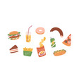 set unhealthy junk food fastfood icons of vector image