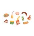 set unhealthy junk food fastfood icons vector image