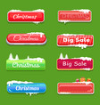 set winter theme web push button covered snow vector image vector image