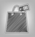 shopping bag sign with tag pencil sketch vector image vector image