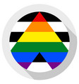 straight ally flag round shape icon on white