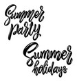summer party lettering phrase design element for vector image vector image