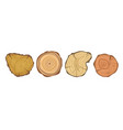 tree wood year rings set isolated icons vector image