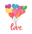 watercolor hand drawn heart balloons with hand vector image vector image