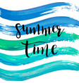watercolor summer time hand lettering blue vector image vector image