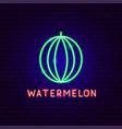 watermelon neon label vector image