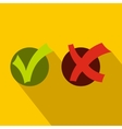 Yes No check marks icon flat style vector image vector image