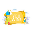 you win flat style design vector image vector image