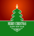 Abstract green christmas tree on red background vector image
