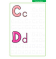 abc alphabet letters tracing worksheet with alphab vector image
